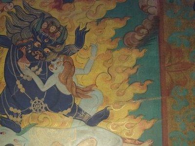 画像1: 馬頭明王(ハヤグリヴァ・タムディン)のヤブユム タンカ