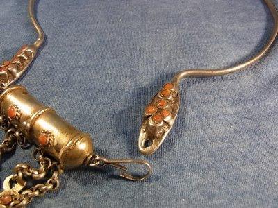画像1: 中央アジア トルクメンの銀製首飾り(アンティーク)