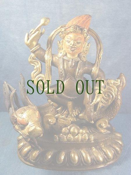 画像1: チベットの護法尊(宝蔵神) 鍍金アンティーク仏像 (1)