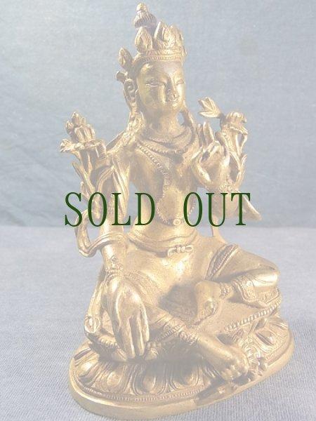 画像1: グリーンターラ (鍍金銅製チベット仏像) アンティーク (1)
