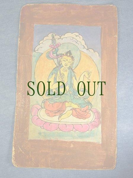 画像1: チベットのタンカ(菩薩画) アンティーク・小サイズ(額装) (1)