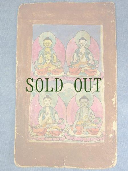 画像1: チベットのタンカ(如来画) アンティーク・小サイズ(額装) (1)