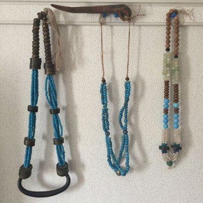 画像2: アイヌ玉(浅葱色・和蘭玉)と紅玉髄のネックレス