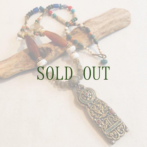 画像1: チベタン オールドネックレス (antique stone beads necklece)ブータン (1)