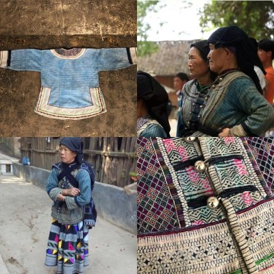 画像1: 雲南省麻栗坡县彝族 (イ族) 本藍染綿麻製 ジャケット