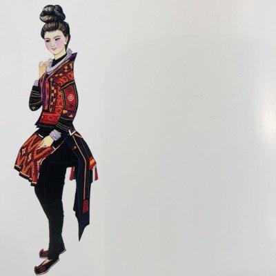 画像3: 貴州 雷公山式空申苗族 本藍染め二重巻きショートスカート(木綿・豆浆染色)