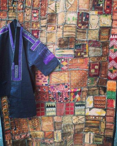 画像1: インド グジャラート州 刺繍・ミラーワーク パッチワーク (178×110cm)・アンティーク