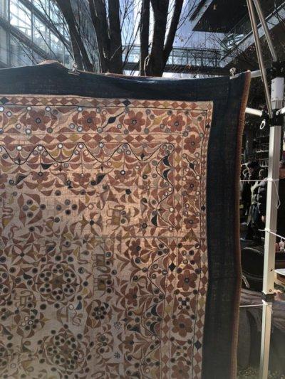 画像1: インド グジャラート州 刺繍・ミラーワーク 天蓋 (180×220cm)・アンティーク