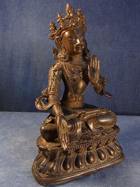 ホワイトターラ(アンティーク銅製チベット仏像) drol kar・白多羅菩薩                                      [CTBT0880]